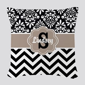 Black Beige Damask Chevron Personalized Woven Thro