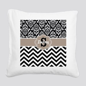 Black Beige Damask Chevron Personalized Square Can