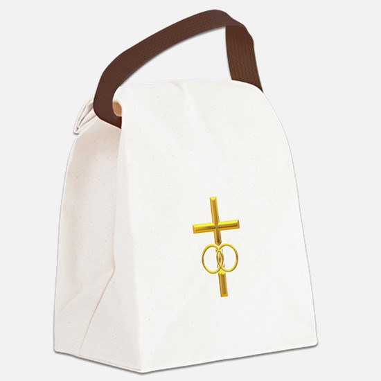 golden cross with wedding Canvas Lunch Bag