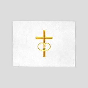 golden cross with wedding 5'x7'Area Rug