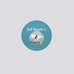 God Answers Knee Mail Mini Button