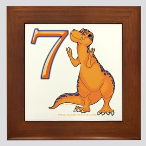 Kids Dino 7th Birthday Gifts Framed Tile
