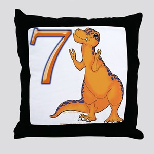 Kids Dino 7th Birthday Gifts Throw Pillow