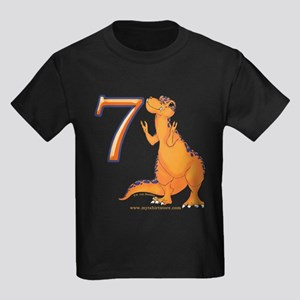 Kids Dino 7th Birthday Gifts Kids Dark T-Shirt