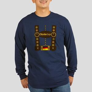 Oktoberfest Lederhosen Fu Long Sleeve Dark T-Shirt