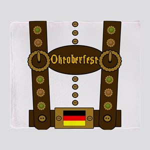 Oktoberfest Lederhosen Funny Throw Blanket