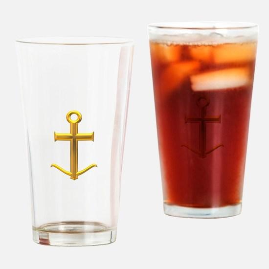 Golden Anchor Cross Drinking Glass