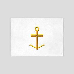 Golden Anchor Cross 5'x7'Area Rug