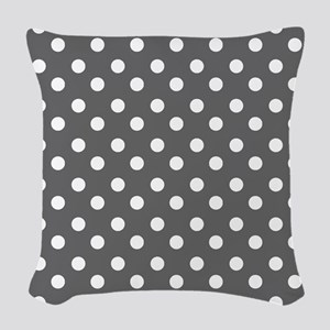 polka dots pattern Woven Throw Pillow