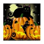 BLACK CAT PUMPKIN HALLOWEEN Tile Coaster