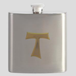 Golden Franciscan Tau Cross Flask