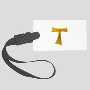 Golden Franciscan Tau Cross Large Luggage Tag
