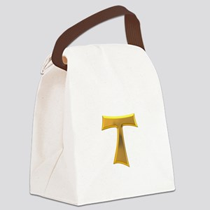 Golden Franciscan Tau Cross Canvas Lunch Bag