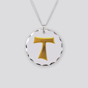 Golden Franciscan Tau Cross Necklace Circle Charm