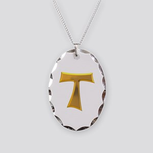 Golden Franciscan Tau Cross Necklace Oval Charm