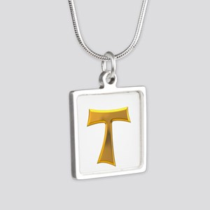 Golden Franciscan Tau Cros Silver Square Necklace