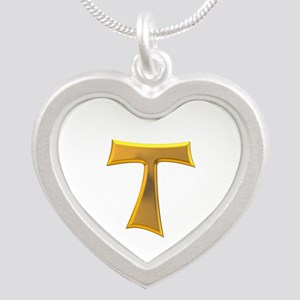 Golden Franciscan Tau Cross Silver Heart Necklaces