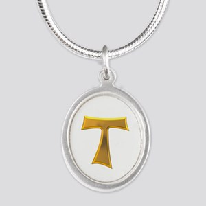 Golden Franciscan Tau Cross Silver Oval Necklaces