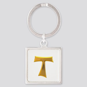 Golden Franciscan Tau Cross Square Keychain