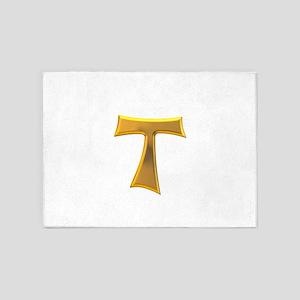 Golden Franciscan Tau Cross 5'x7'Area Rug