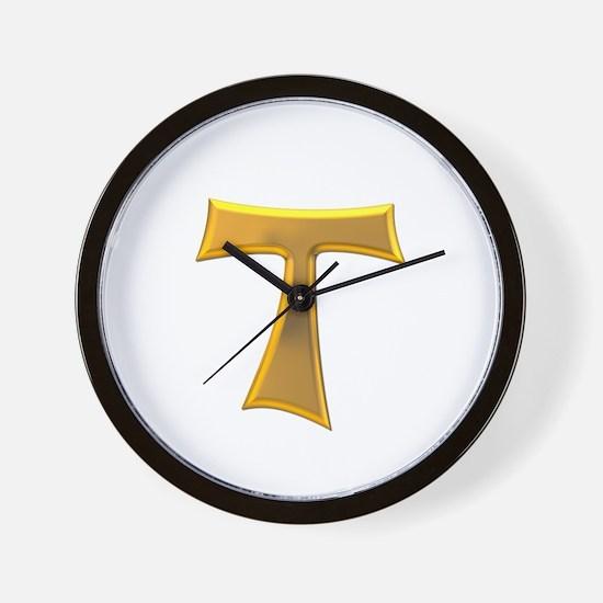 Golden Franciscan Tau Cross Wall Clock