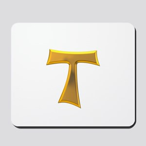 Golden Franciscan Tau Cross Mousepad