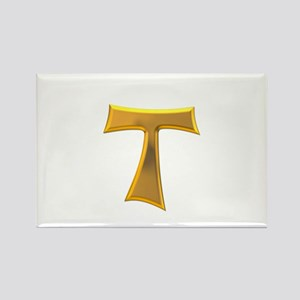 Golden Franciscan Tau Cross Rectangle Magnet