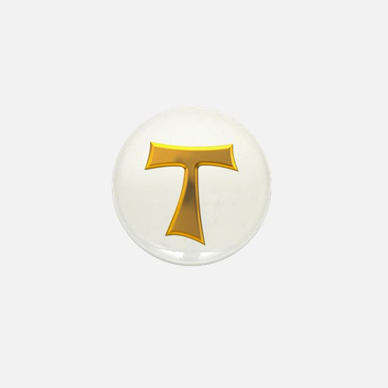 Golden Franciscan Tau Cross Mini Button
