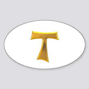 Golden Franciscan Tau Cross Sticker (Oval)
