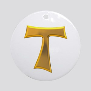 Golden Franciscan Tau Cross Ornament (Round)