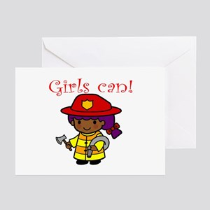 Girl Firefighter Greeting Cards (Pk of 10)