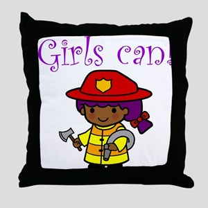 Girl Firefighter Throw Pillow