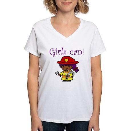 Girl Firefighter Women's V-Neck T-Shirt