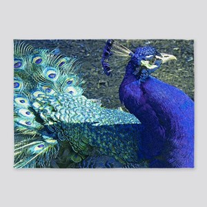 Blue peacock on blue green backgrou 5'x7'Area Rug