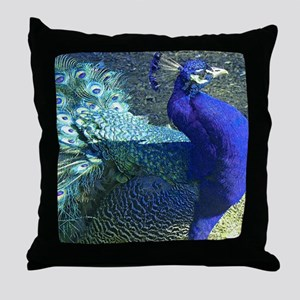 Blue peacock on blue green background Throw Pillow