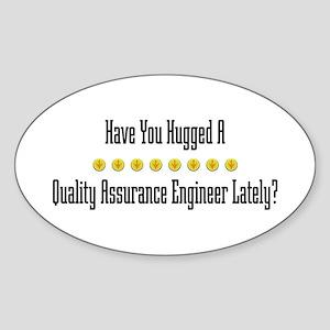 Hugged Quality Assurance Engineer Oval Sticker