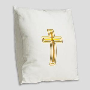 Golden Cross 1 Burlap Throw Pillow