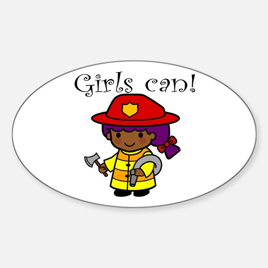 Girl Firefighter Oval Decal