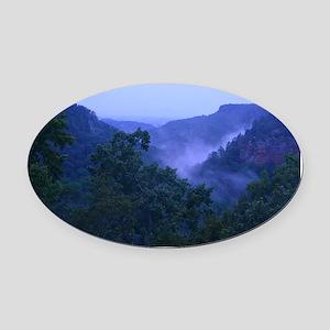 Ozark Mountain Fog Oval Car Magnet