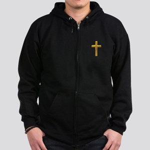 Golden Cross 2 Zip Hoodie (dark)