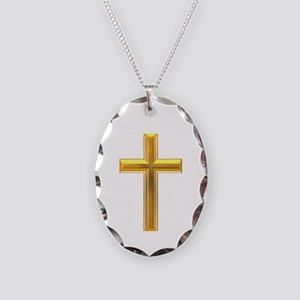 Golden Cross 2 Necklace Oval Charm