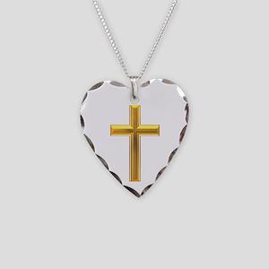 Golden Cross 2 Necklace Heart Charm