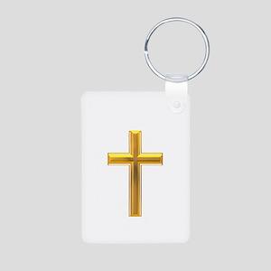 Golden Cross 2 Aluminum Photo Keychain