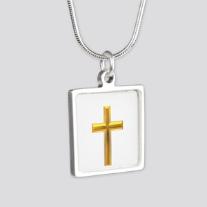 Golden Cross 2 Silver Square Necklace