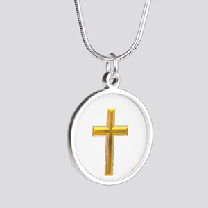 Golden Cross 2 Silver Round Necklace