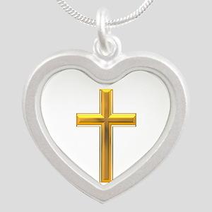 Golden Cross 2 Silver Heart Necklace