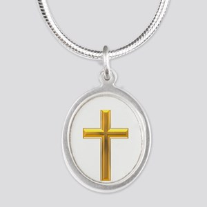 Golden Cross 2 Silver Oval Necklace
