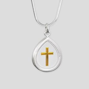 Golden Cross 2 Silver Teardrop Necklace