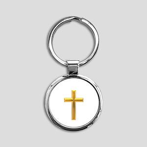 Golden Cross 2 Round Keychain