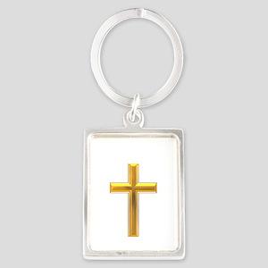 Golden Cross 2 Portrait Keychain